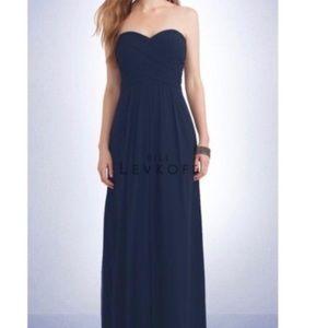 Bill Levkoff Navy Blue Strapless Dress Siz…